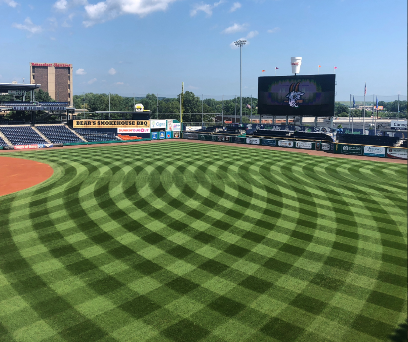 Dunkin' Donuts Park STMA mowing patterns contest winner