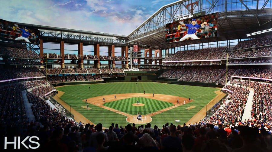 Globe Life Field rendering with video displays 5-7-2019
